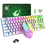 Wireless Gaming Keyboard and Mouse Combo,Rainbow Backlit Rechargeable 3800mAh Battery,87 Keys Mechanical Feel Ergonomic Waterproof Keyboard,RGB Gaming Mute Mouse and Mousepad for PC Gamers (White)