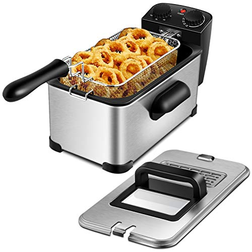 ARLIME Deep Fryer with Basket, 1700W Electric Stainless Steel Deep Fryer with 3.2 Quart Oil Container & Lid w/View Window, Adjustable Temperature and Timer