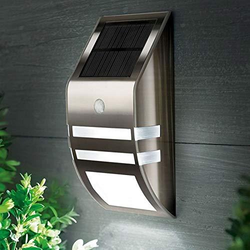 feiren Lámpara de pared de acero inoxidable impermeable PIR sensor de movimiento LED luz solar jardín patio exterior camino