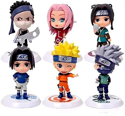 6PCS Naruto Mini Figura de Decoración para Tarta de Naruto, Minifigura para Decoración de Fiesta Cumpleaños para niños, Decoración para Tartas Suministros para Decoración de Tartas para Fiesta