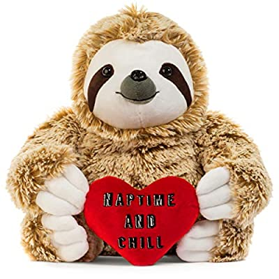Light Autumn Valentines Day Stuffed Animals - Girlfriend Gifts - Naptime and Chill Valentine Sloth Bear for Her - Cute Funny Vday Gifts for Boyfriend