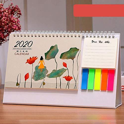 LIIYANN Tischkalender Okt 2019 - Dez 2020 Akademisches Jahr Tischkalender 2020 Tischkalender, Notizblock, für Lehrer, Familie oder Geschäftsstelle (Colo-Gesche