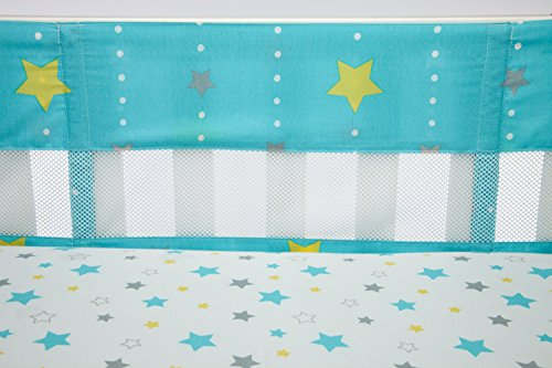Little Bedding by NoJo Twinkle Secure Me Crib Liner, Turquoise/Yellow