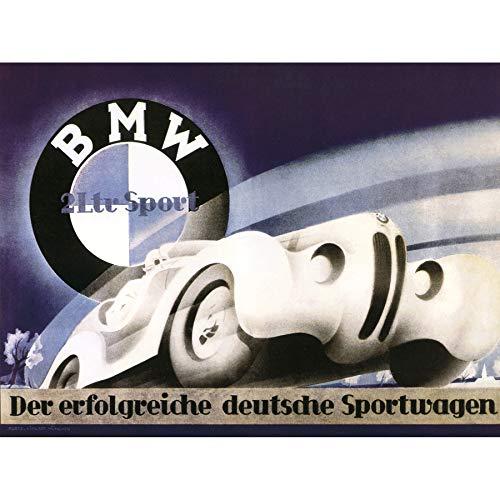 Wee Blue Coo Advertisement Bmw Sport Car German Art Canvas P