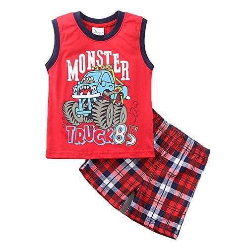 Bebé 2 Piezas Traje de Ropa Deportiva para Niño Pequeño Conjunto Informal Chándal Camiseta de Manga Corta / Chaleco + Pantalones Cortos Ropa Verano para Chicos (Rojo, 5-6 Años)