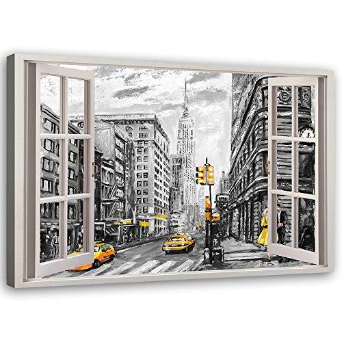 Feeby Cuadro de Pared XXL Ventana Impresión Lienzo Nueva York Amarillo 120x80 cm