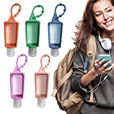 Travel Sanitizer Holder Keychain with Empty Bottle for Kids, 30ml/1oz Silicone Squeeze Portable Refillable Reusable Bottles,Hosgin Mini Sanitizer or Lotion Holder (Mix Colors)
