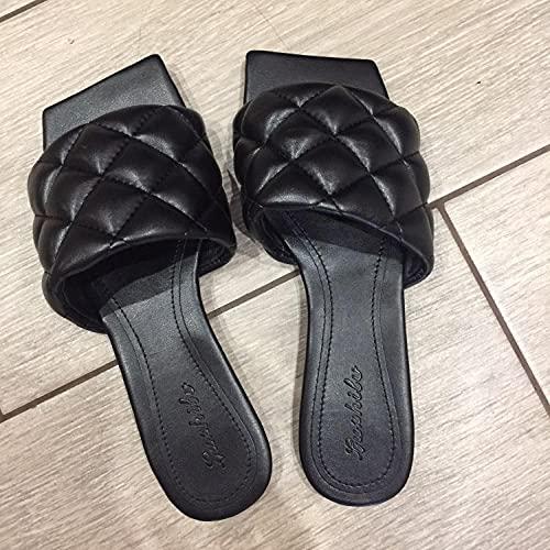 ypyrhh para Hombre Chanclas Slider,Zapatillas Tejidas Planas,Cabeza Cuadrada,Perezoso-Negro_36,Zapatos de Playa y Piscina