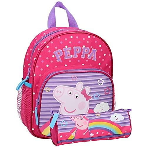 Peppa Pig - Zaino per bambini per asilo, 29 x 23 x 10 cm, con astuccio