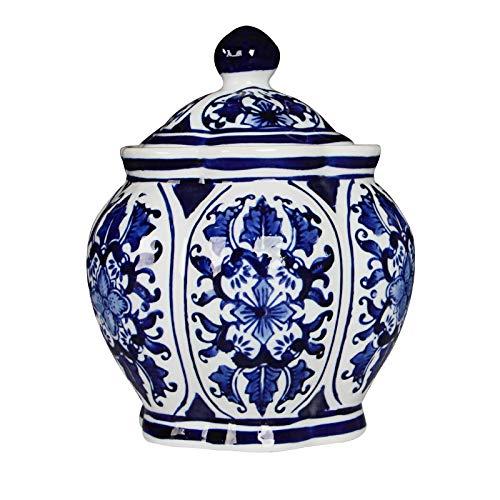 Adorno De Escritorio Jingdezhen Tanque de almacenamiento de cerámica azul y blanco Pote de porcelana Blanco Sala de estar China Gabinete TV Bocadillo Pote Artes y artesanía decorativos Decoración de e