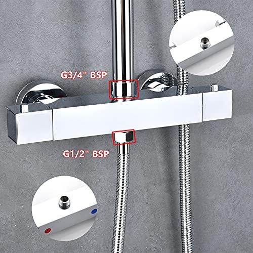 Solepearl Miscelatore Termostatico per Doccia Vasca 3/4' BSP (25 mm) inferiore 1/2' BSP (21 mm)