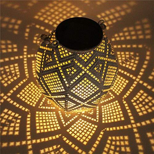 OSALADI Linternas de Jardín Al Aire Libre con Energía Solar Linterna Solar a Prueba de Agua Colgando Luz Hexagonal de Hierro Marrón para Patio Jardín Césped