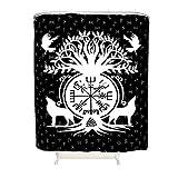 Vrnceit Wikinger Wolf Raben Kompass Duschvorhang Polyestergewebe für Badezimmerdekoration White 150x200cm