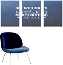 Motivational Canvas Print Artwork Wise Words About Learning from Your Mistakes with Vintage Hipster Design Modern Decorative Artwork 3 Panels 24x35inch Blue Umber White