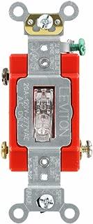 Leviton 1221-PLC 20-Amp, 120 Volt, Toggle Pilot Light, Illuminated On, Req, Neutral Single-Pole AC Quiet Switch, Extra Heavy Duty Grade, Self Grounding, Clear