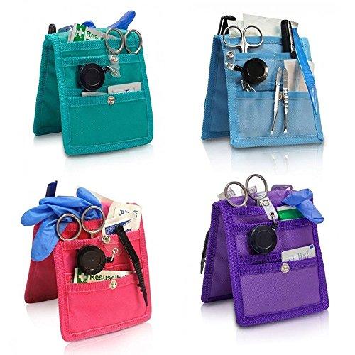 Pack 4 Salvabolsillos enfermera Keen's para bata o pijama, Colores: 1 morado, 1 rosa, 1 azul y 1 verde, Lote ahorro, Elite Bags, Medidas: 14,5 x 12 cm