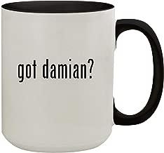 got damian? - 15oz Colored Inner & Handle Ceramic Coffee Mug, Black