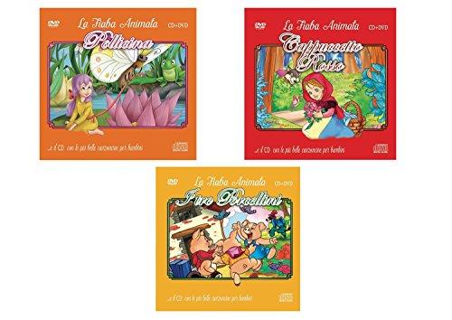 Offerta Speciale, 3 Cd Audio + 3 DVD le Più Belle Canzoncine & Fiabe, Pollicina, Cappuccetto Rosso, I Tre Porcellini Idea Regalo per bambini e Per Feste di Compleanno