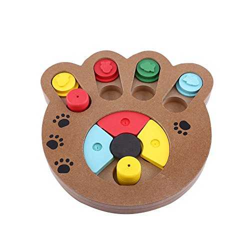 Yosoo Pet Intelligenz Spielzeug Interaktives Lebensmittel behandelt Holz Spielzeug für Hunde Katzen Educational Bone Pet Paw Puzzle Spielzeug