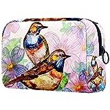 Bolsa de cosméticos de acuarela con diseño floral vintage para viaje con cremallera para mujeres y niñas