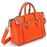 Mdsfe Bolso de Hombro para Mujer en imitación de Cuero Satchel Cross Body Tote Bag (Negro) - Naranja
