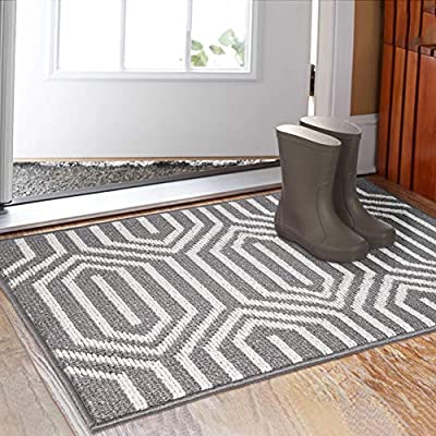 "Indoor Doormat 32""x 48"", Absorbent Front Back Door Mat Floor Mats, Rubber Backing Non Slip Door Mats Inside Mud Dirt Trapper Entrance Door Rug Carpet, Machine Washable Low Profile-Grey Time Cloister"