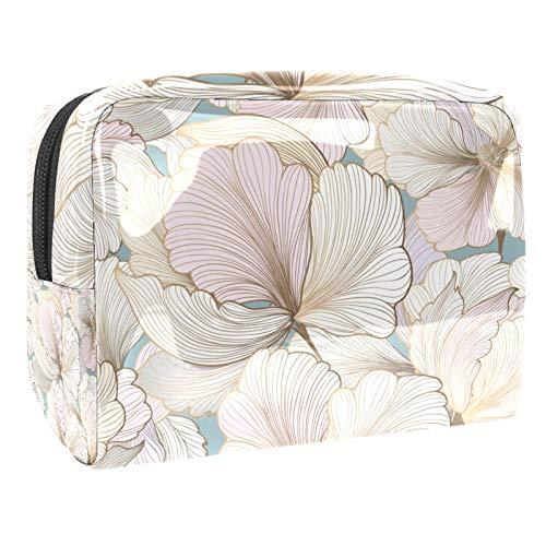 Cosmetic Case Organizer Pastel flowers Travel Makeup Bag Compact Makeup Case Waterproof Toiletry Bag for Women Girls 18.5x7.5x13cm