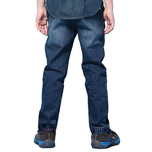 Leo&Lily Boys' Husky Elastic Waist Denim Jeans Pants Trousers Blue (16, Blue)