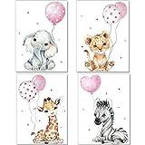artpin Juego de 4 imágenes para habitación de niños, rosa decoración para niños y niñas, DIN A4, póster, diseño de animales de la jungla p64