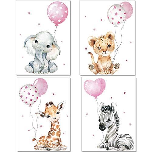 artpin® Poster Kinderzimmer Deko - Bilder Babyzimmer für Mädchen - Safari Dschungel Tierposter Grau Rosa Luftballon P64