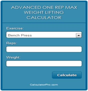Online Advanced One Rep Max Weight Lifting Calculator