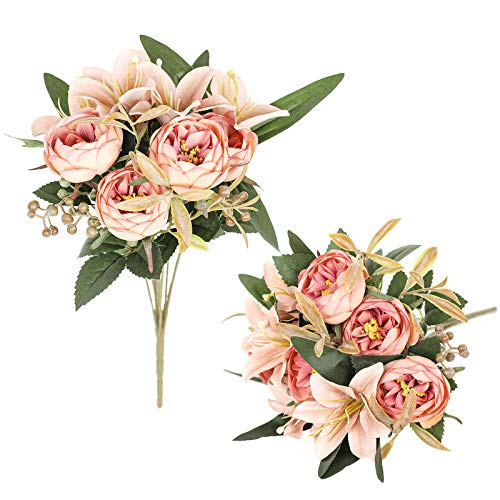 Luyue 2 Pack Artificial Peonies Flowers Arrangements Vintage Peony Lily Flower Bouquets Faux Floral Decoration for Home Office Party Cemetery Decor-Vintage Light Pink