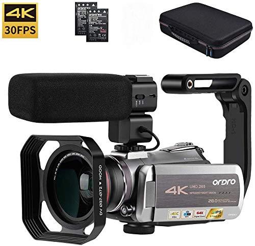 Camcorder 4K, ORDRO AZ50 Camcorder 4K/30fps Videokamera WiFi Camcorder IR Nachtsicht mit Stereo Mikrofon, Weitwinkelobjektiv, Organizer Tasche