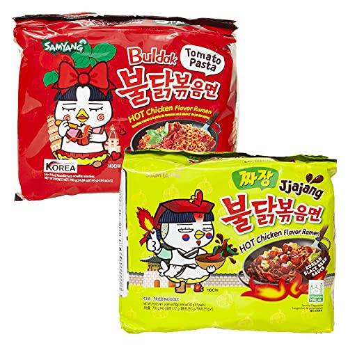 kennenlernbox 10er Ramen Box | Samyang Hot Chicken Ramen Combo | 5er Pack Tomato Pasta & 5er Pack Jjajang