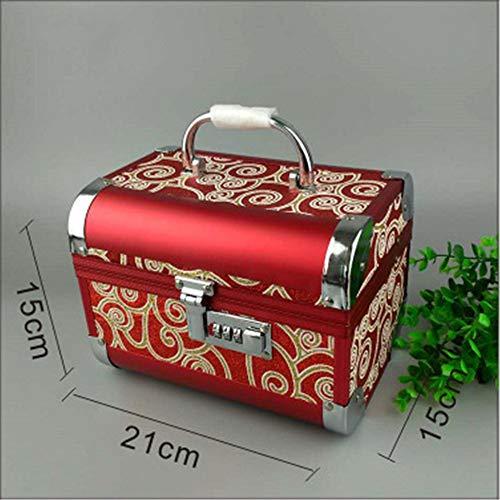 joyero, Joyero portátil Estuche de aluminio para cosméticos Caja portátil de almacenamiento de joyas Contraseña Joyero: Amazon.es: Hogar