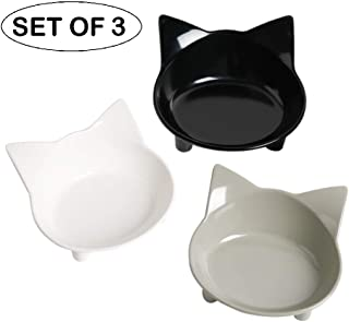 cGy Cat Bowl Cat Food Bowlsl Non Slip Cat Dish Pet Food Bowls Shallow Cat Water Bowls Cat Feeding Wide Bowls to Stress Relief of Whisker Fatigue Pet Bowl of Dogs Cats Rabbits