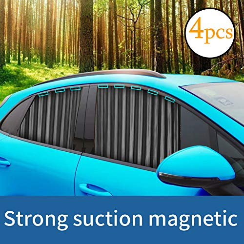 Ovege Car Window Shade -Car Side Window Sun Shade Car Curtain Pleated Silky UV Protection Privacy Baby Suction Magnetic (Black-Opaque, Front&Back 4pcs)