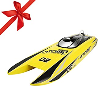 FUNTECH RC Boat RTR (Ready to Run), Super Fast Brushless Remote Control Boats 2.4GHz 40 Mph+ RC Boat with 2000KV Powerful Motor 11.1V 2600mAh Battery, Fit for Freshwater- Pools,Lake,River, Yellow