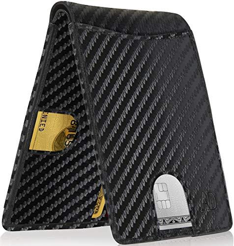 Bifold Wallets For Men Slim Wallet - Leather RFID Minimalist Front Pocket Thin Small Mens Wallet Credit Card Holder
