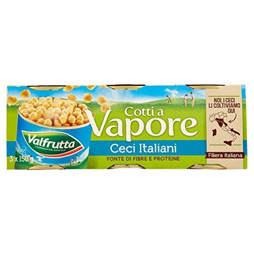 Valfrutta Ceci Italiani Cotti a Vapore, 3 x 150g