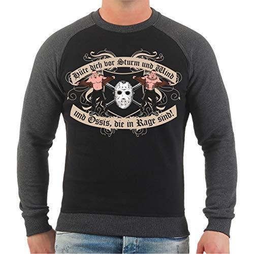 Spaß kostet Männer und Herren Sweatshirt Hüte Dich vor Sturm und Wind und Ossis die in Rage sind Größe S - 10XL