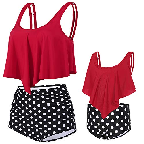 DINIGOFIN Girls Two Pieces Swimsuit for Women High Waisted Bikini Set Mommy and Me Bathing Suits Family Matching Swimwear,Red-Girl 7-8T