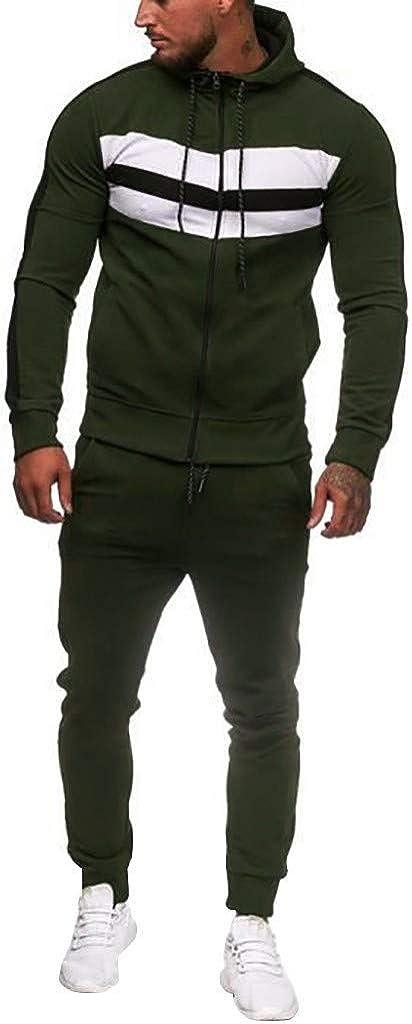 Men's 2 Piece Tracksuit Set, Mens Autumn Gradient Zipper Hoodie+Elastic Pants Sweatpants for Jogger Sports Gym Running