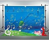 HD 7x5Ft漫画スタイルの背景クリエイティブな音楽テーマ写真撮影の背景スタジオ写真の小道具 388