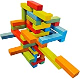 Wooden Bricks 45 Magnetic Building Blocks, Magnetic Building Set...