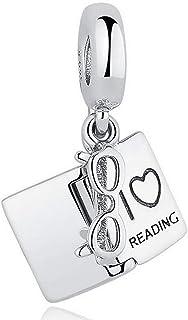 925 Sterling Silver I Love Reading Dangle Charm Beads Lucky Book Fits Pandora Bracelet Charms & European Bracelets