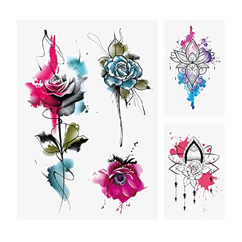 glaryyears 10 Sheets Watercolor Rose Temporary Tattoos for Women, Henna Flower Fake Tattoo Stickers Realistic Waterproof on Arm Shoulder Wrist Body Art Large Size
