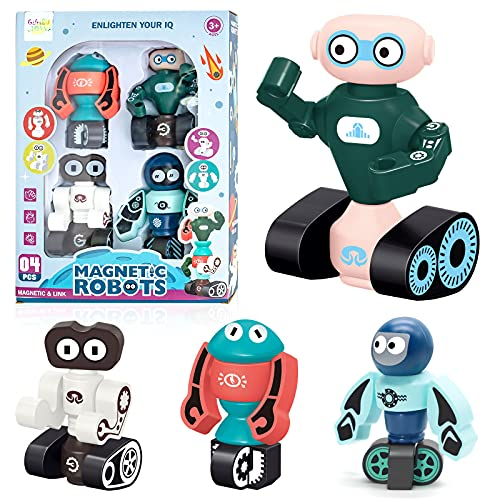 robots for students Gifts2U Magnetic Robots Toy, Kids Robot Magnetic Blocks Stacking Robots STEM Educational Playset Learning Story Bots Travel Gift for Age 3 4 5 6 Years Old Boys and Girls Preschool Toddlers