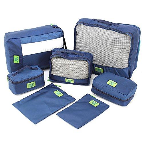 Roeam Sacchetto di Immagazzinaggio di Viaggio 7pcs / Set Multi-Fonction Abbigliamento Ipermeabile Sacchetti di Smistamento Sacchetto della Maglia Dispositivo Imballaggio Cubi (Blu)