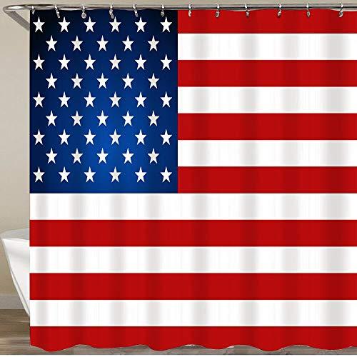 KGSPK Cortinas de Ducha,Día de la Independencia de la Bandera Estadounidense,Impermeable Cortinas Baño y Lavables Cortinas Bañera 180x180CM